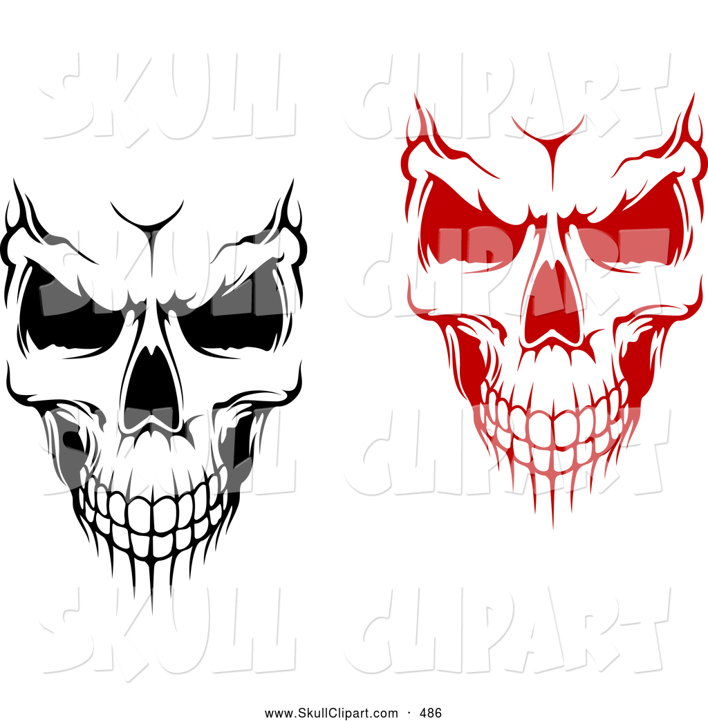 1024x1044 Vector Clip Art Of A Pair Of Evil Black And White And Red Skulls
