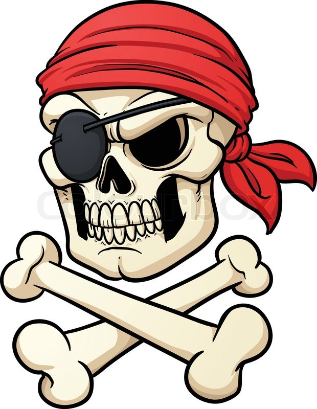620x800 Cartoon Pirate Skull And Crossbones. Vector Illustration