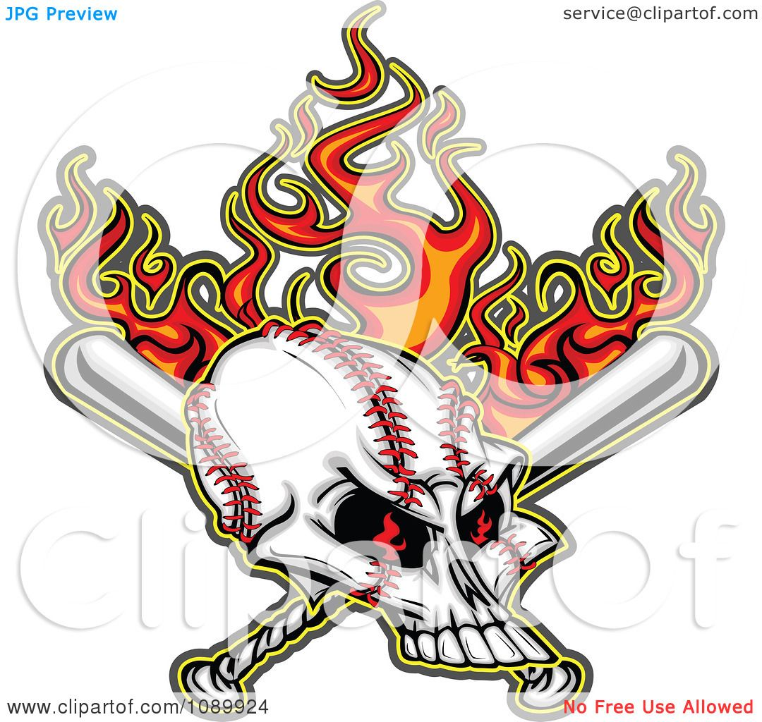 1080x1024 Clipart Flaming Evil Baseball Skull With Bats