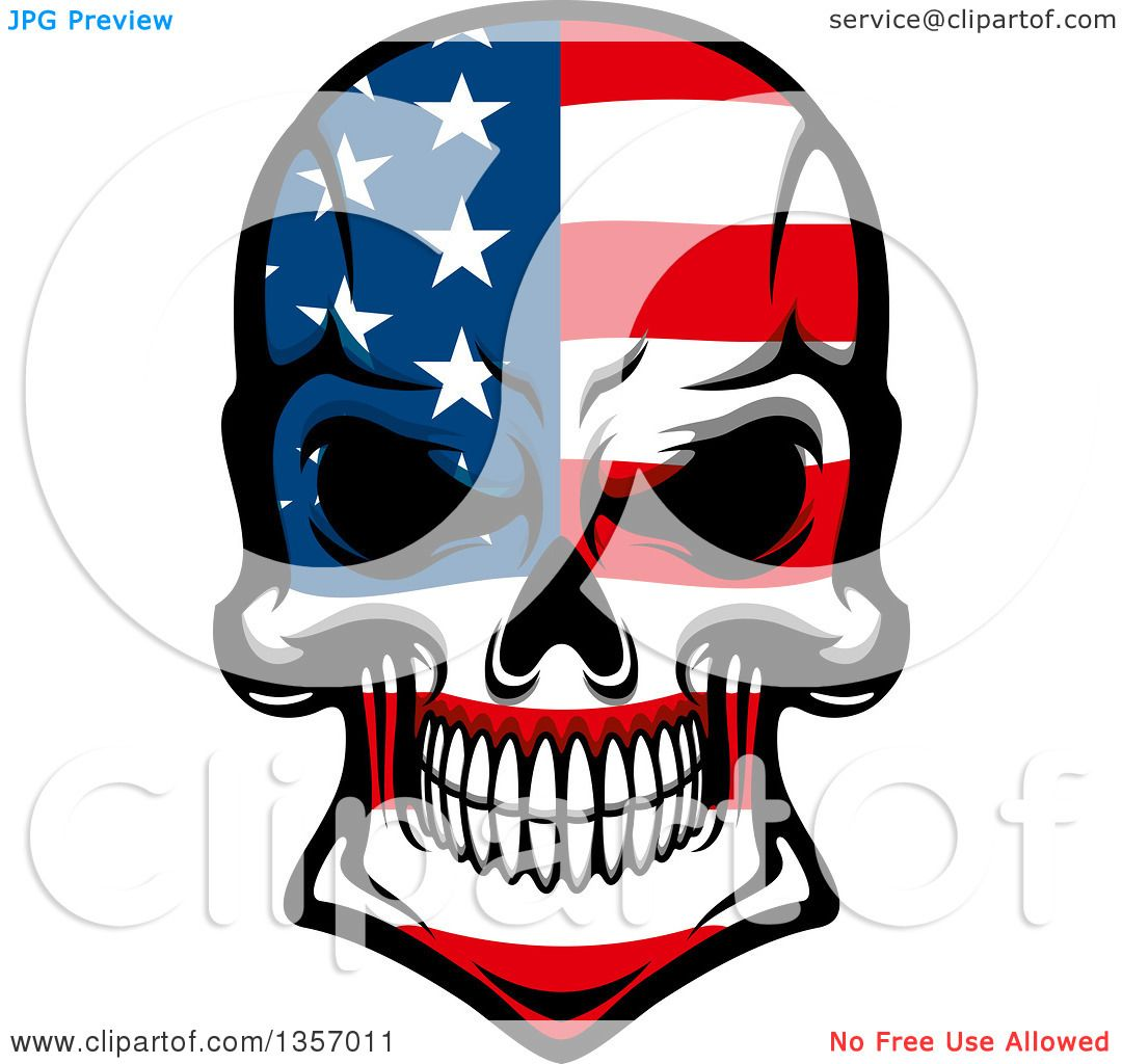 1080x1024 Clipart Of A Grinning Evil Skull In American Flag Colors