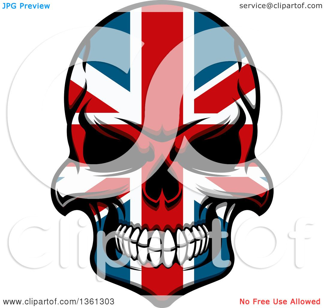 1080x1024 Clipart Of A Grinning Evil Skull In British Flag Colors