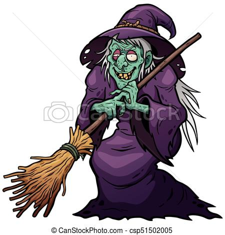 450x470 Vector Illustration Of Cartoon Witch Holding Broom Vector Clipart