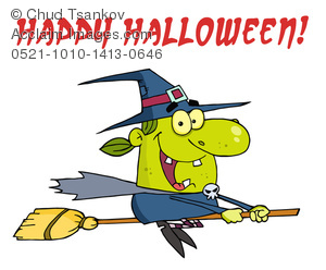 300x248 Clipart Image Of A Cartoon Witch On Her Broomstick Under Red