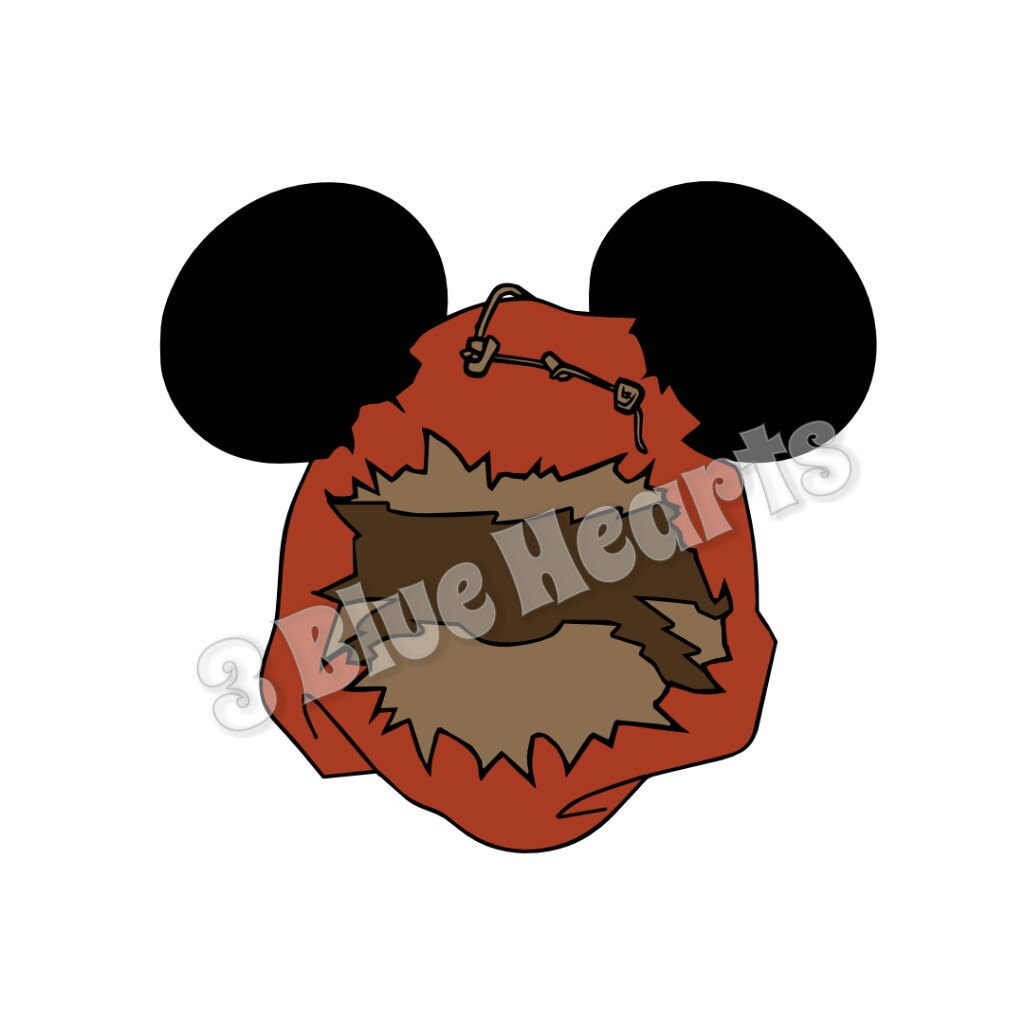 1024x1024 Star Wars Ewok Mickey Head, Ewok Mickey Head, Ewok Svg Dxf Pdf