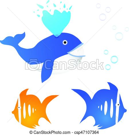 450x469 Collection Of Three Fishes With Bubbles. Whale And Exotic Clip