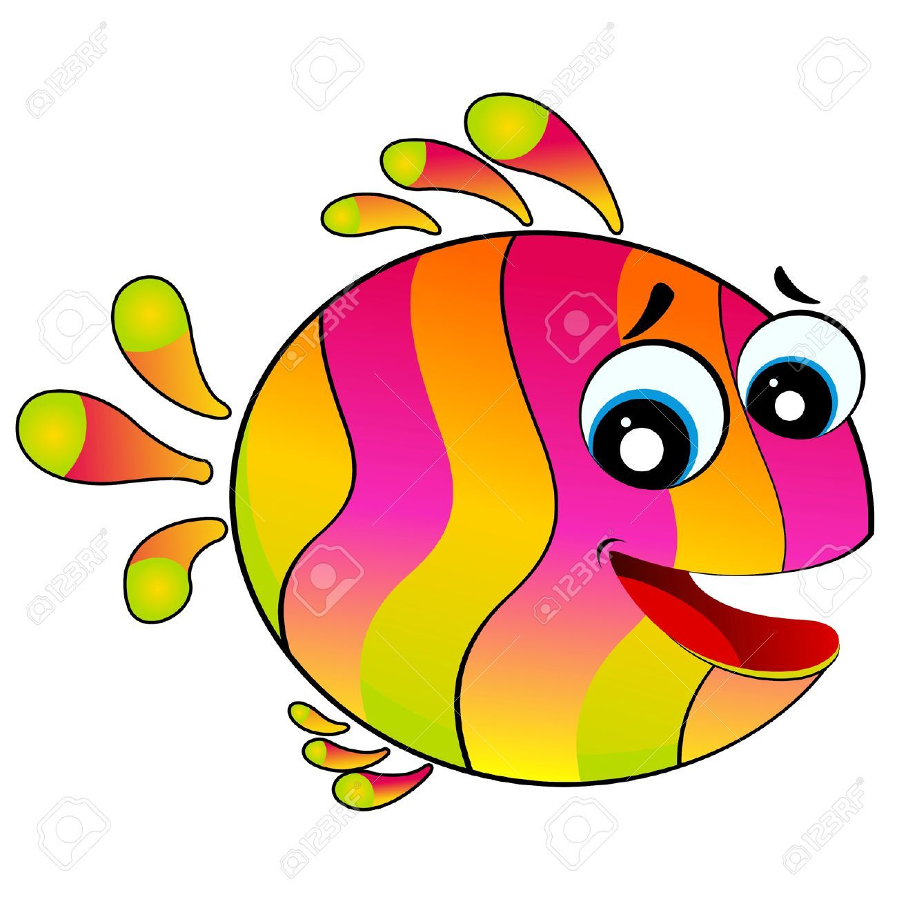 1300x1300 Little Colorful Tropical Fish (Fish, Cartoon, Funny) Clip Art
