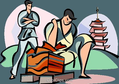 480x338 Japanese Karate Expert Breaking Boards Royalty Free Vector Clip
