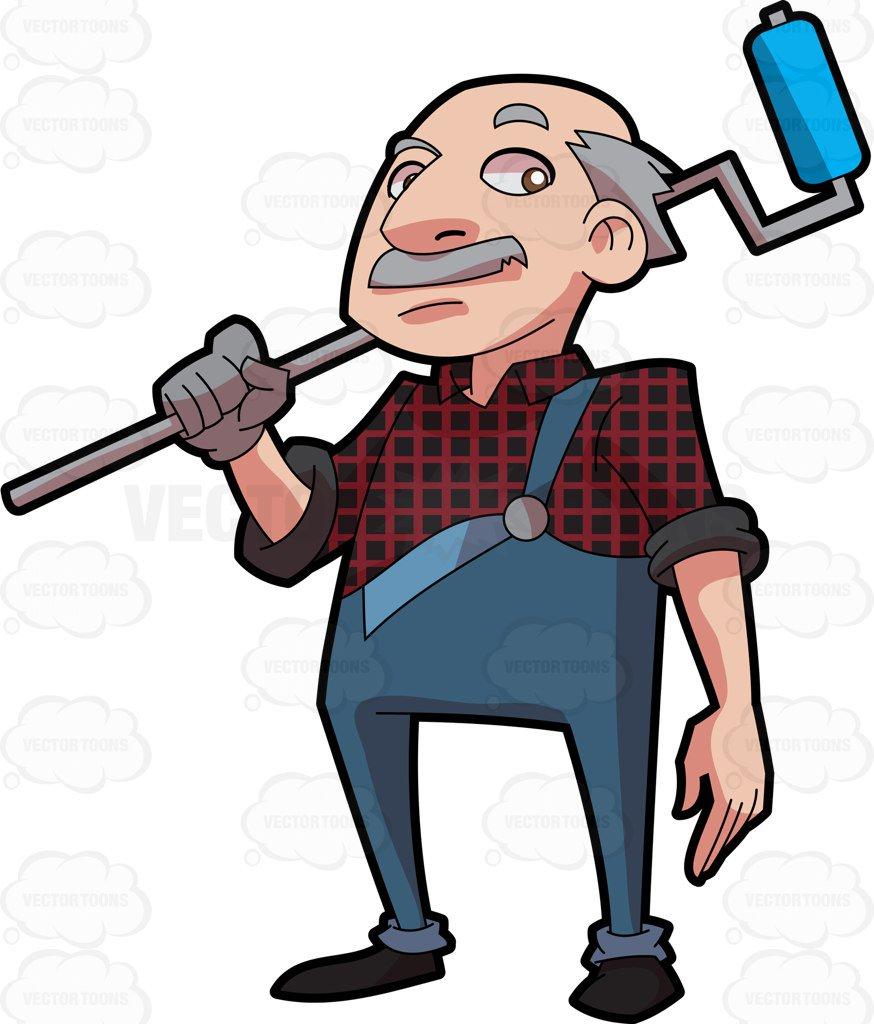 874x1024 An Expert Painter Cartoon Clipart Vector Toons