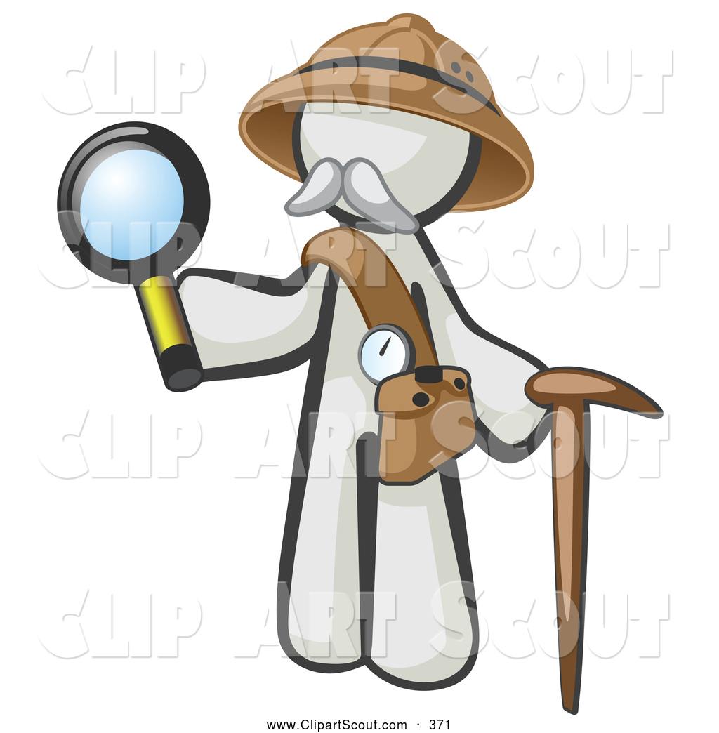 1024x1044 Clipart Of A White Person Explorer With A Pack Cane And Magnifying