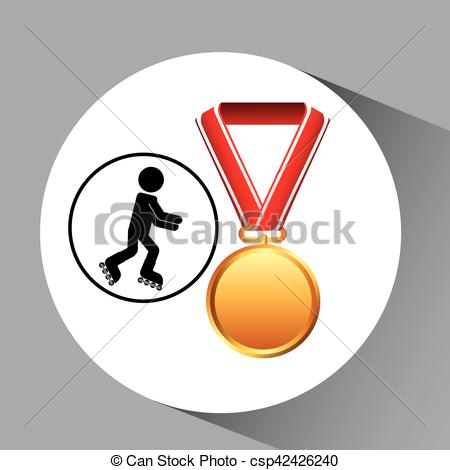 450x470 Roller Skating Medal Sport Extreme Graphic Vector Eps Vector