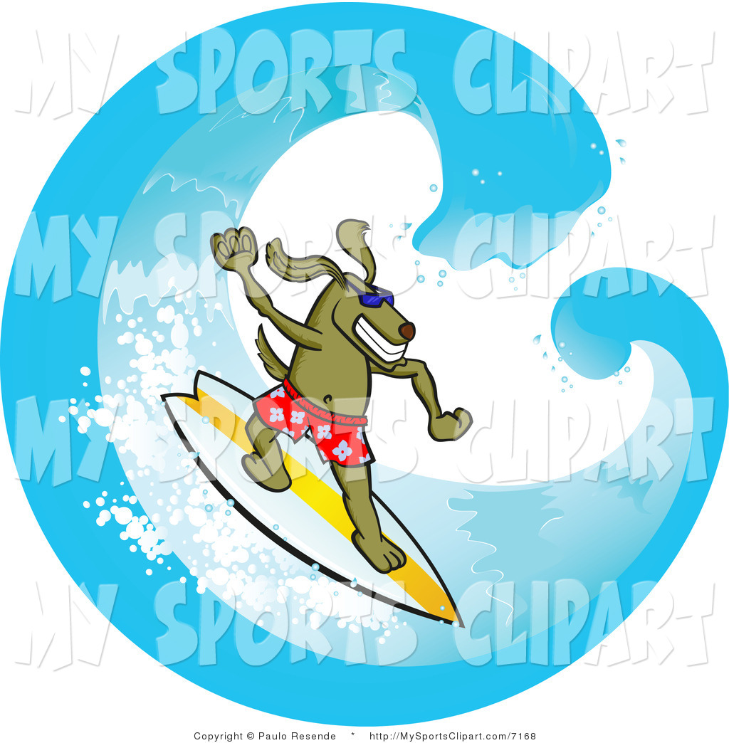 1024x1044 Sports Clip Art Of A Surfer Dog Riding A Wave By Paulo Resende