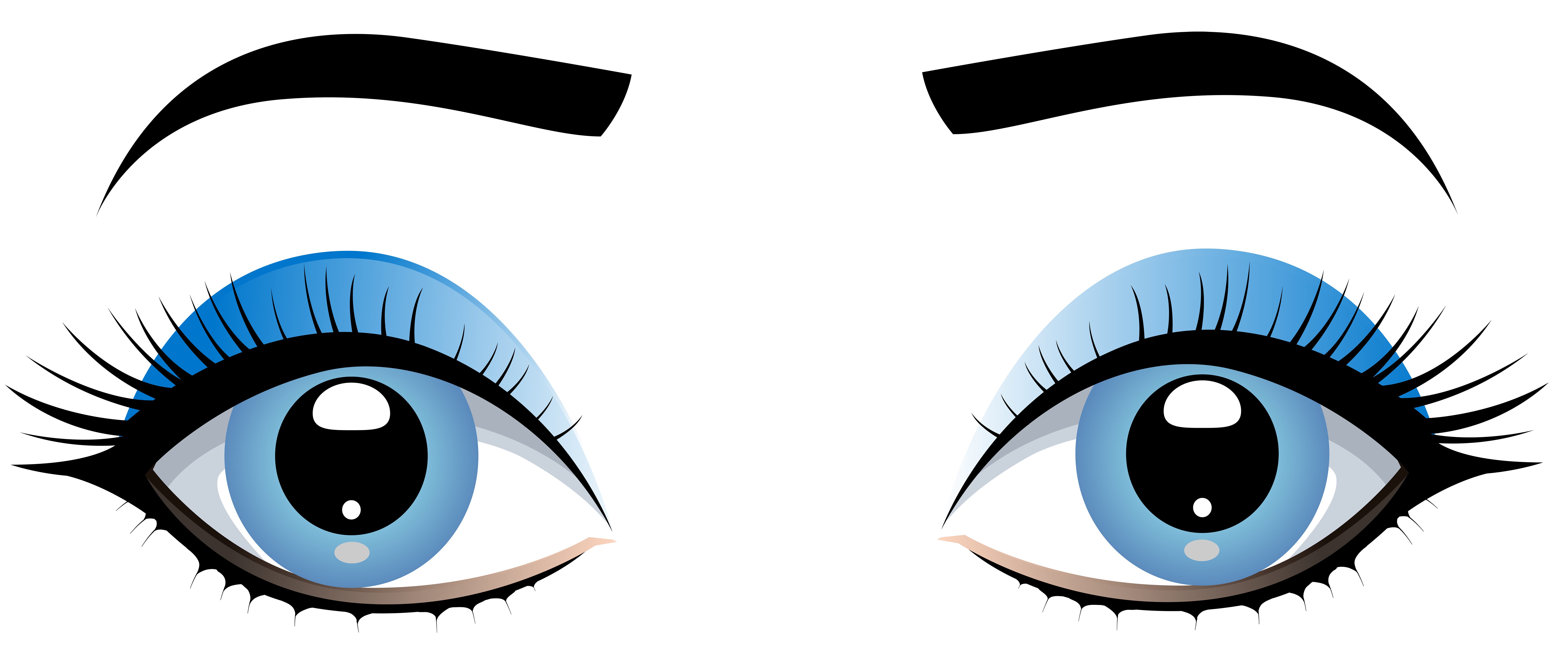 8000x3410 Blue Female Eyes With Eyebrows Png Clip Art