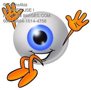 300x296 Stock Clipart Image Of A Cartoon Eye Ball Character Falling Down