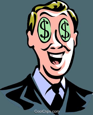 387x480 Man With Dollar Sign Eyes Royalty Free Vector Clip Art