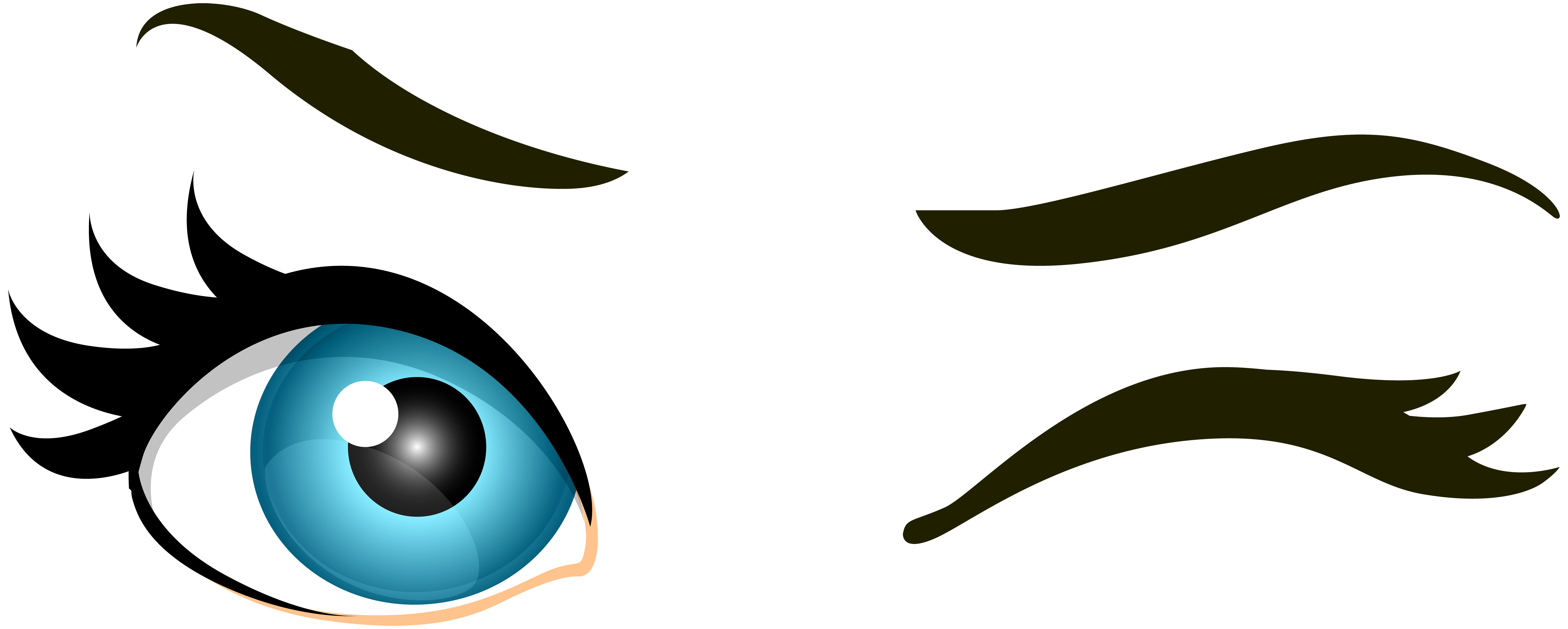 7000x2809 Blue Winking Eyes Png Clip Art