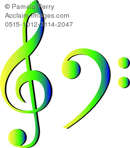 263x300 Clip Art Image Of A Treble Clef And A Bass Clef