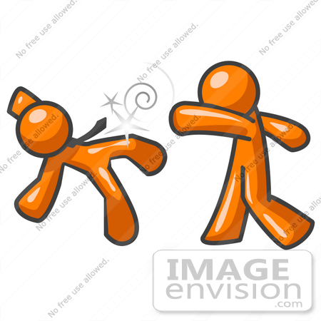 450x450 Clip Art Graphic Of An Orange Guy Character Knocking His Opponent