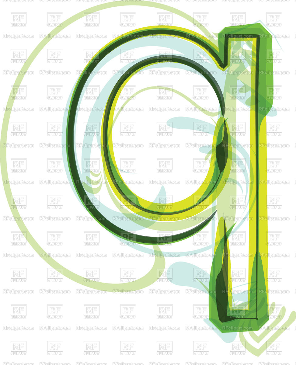 973x1200 Green Organic Font Letter Q Royalty Free Vector Clip Art Image