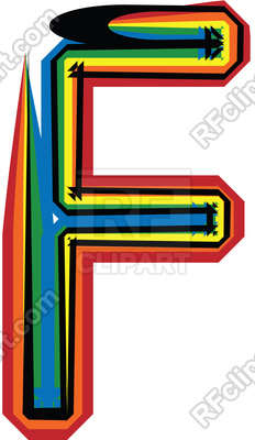 232x400 Colorful Grunge Font Uppercase Letter F Royalty Free Vector Clip