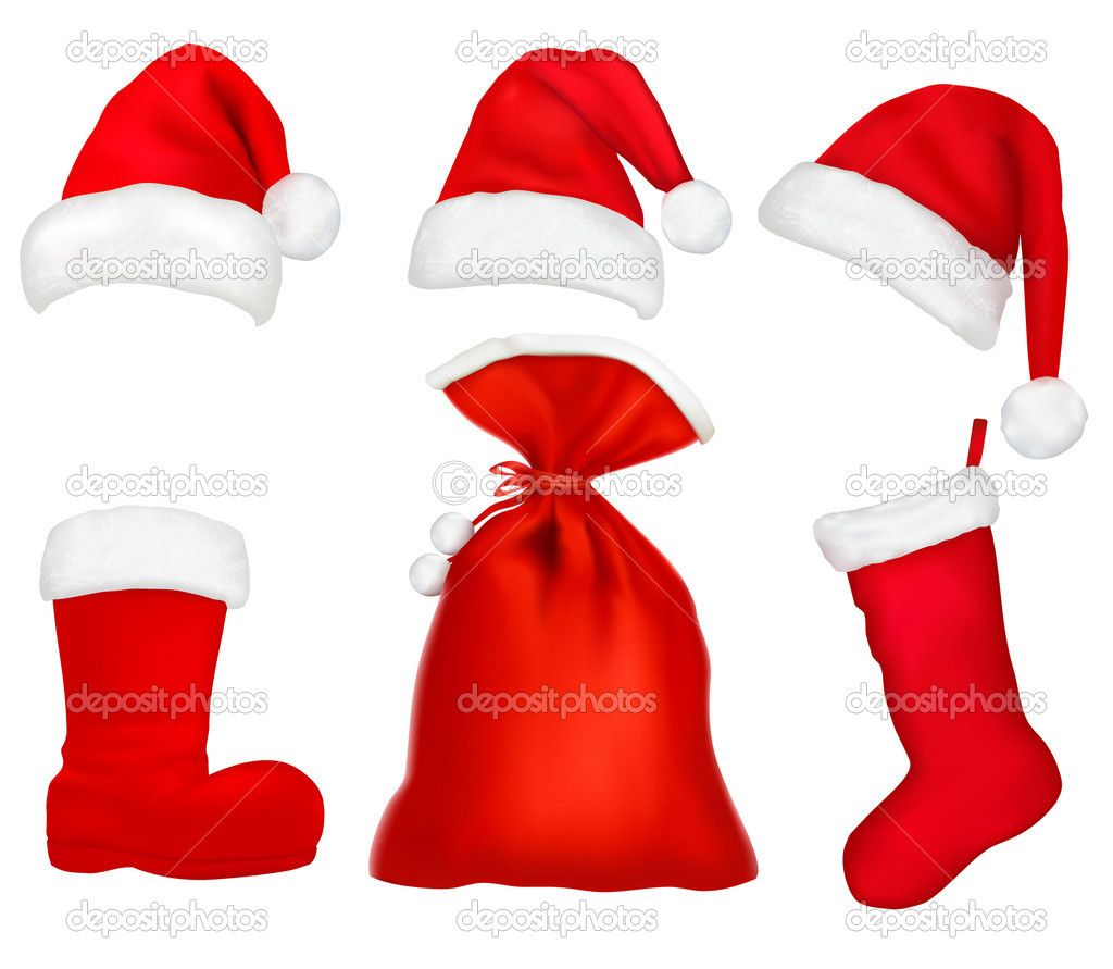 1024x891 Christmas Santa Hats, Bag, Boot And Stocking Clip Art Printable