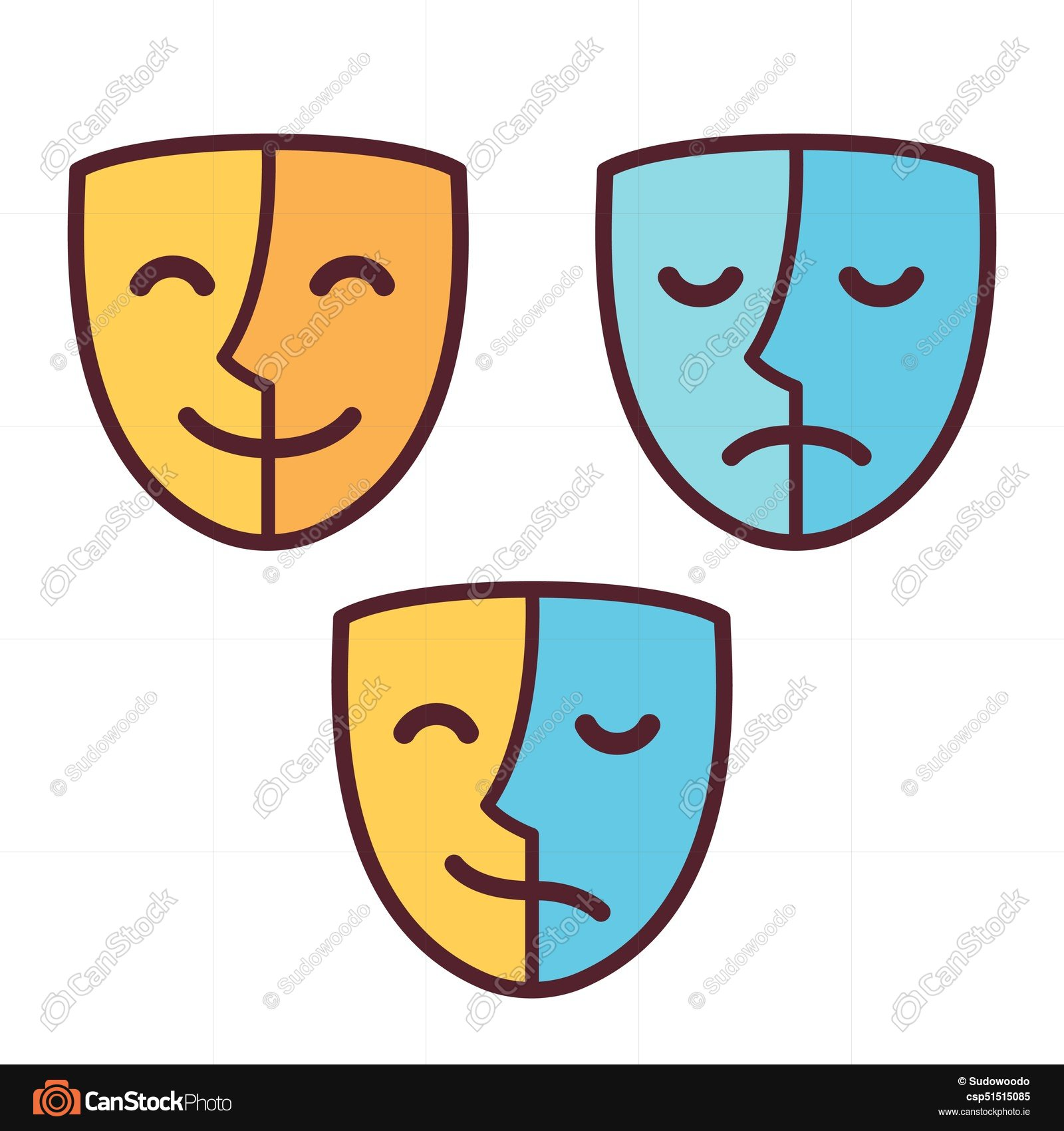 1600x1700 Happy And Sad Face Mask Icons, Half Happy And Half Sad . Vector
