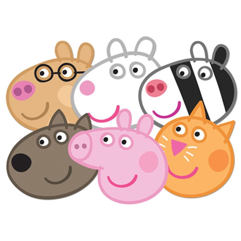 1000x1000 Peppa Pig Face Mask Set Of 6 (Peppa, Candy, Danny, Suzie, Pedro