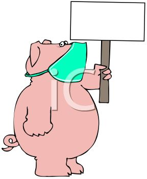 288x350 Royalty Free Clipart Image Cartoon Of A Pig Wearing A Face Mask