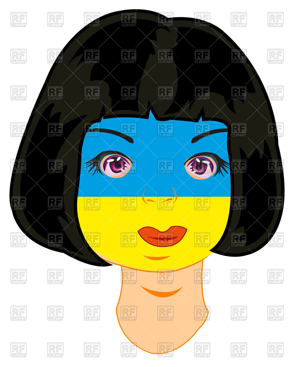 961x1200 Patriotic Girl With Flag Of The Ukraine Painted On Face Royalty