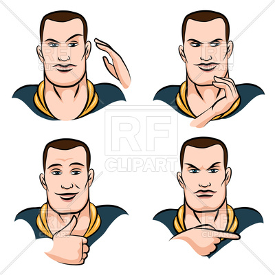 400x400 Man's Face Expression Set Drawn In Cartoon Style Royalty Free
