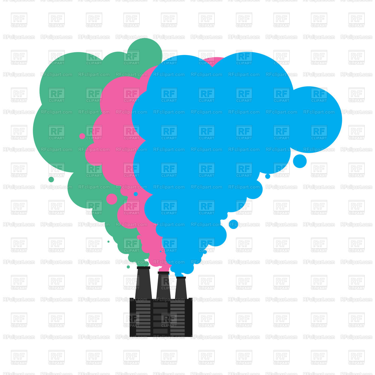 1200x1200 Colored Smoke From Pipes Of Factory Royalty Free Vector Clip Art