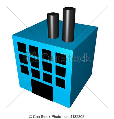 450x470 Factory For Manufacturing Isolated On A White Background Stock