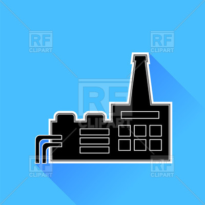 400x400 Factory Icon On Blue Background Royalty Free Vector Clip Art Image