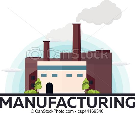 450x378 Industrial Building Factory. Manufacturing. Vector Flat Eps