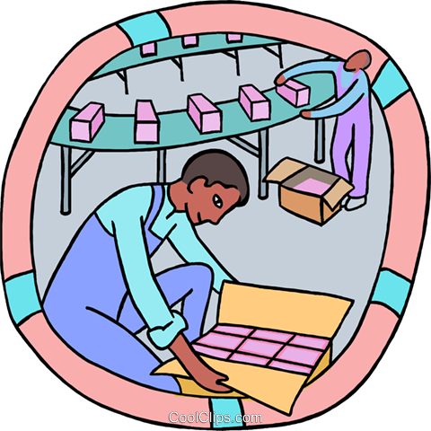 480x480 Factory Workers Packaging Products Royalty Free Vector Clip Art