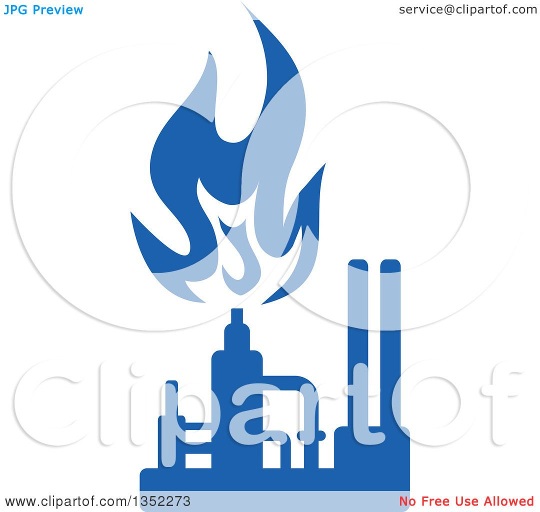 1080x1024 Clipart Of A Silhouetted Blue Natural Gas And Flame Factory