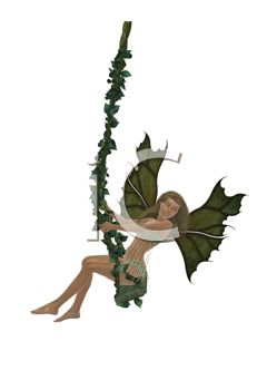 240x350 Royalty Free Clip Art Image Woodland Faerie Swinging On A Vine Swing