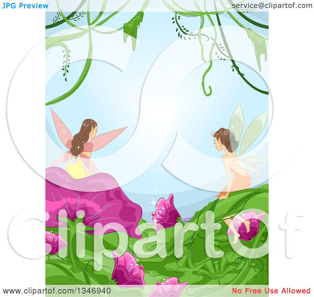 1080x1024 Clipart Of A Border Of Fairies On Flowers And Leaves, With Vines