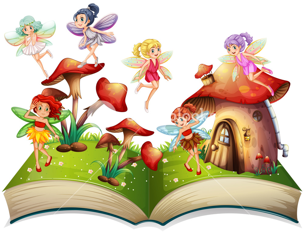 1000x767 Fairies Flying Around The Mushroom House Illustration Royalty Free