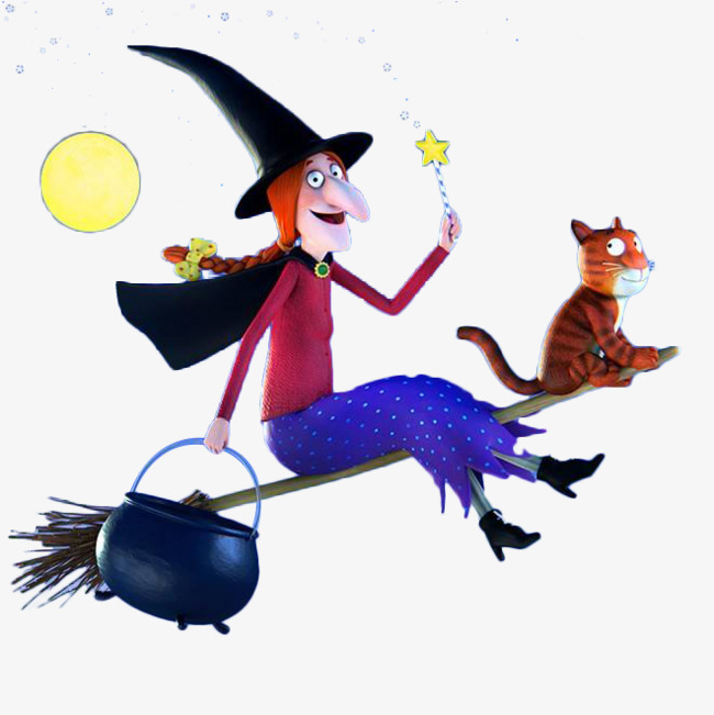 650x651 The Cartoon Witch Sat On The Magic Broom, Magic Broom, Magic