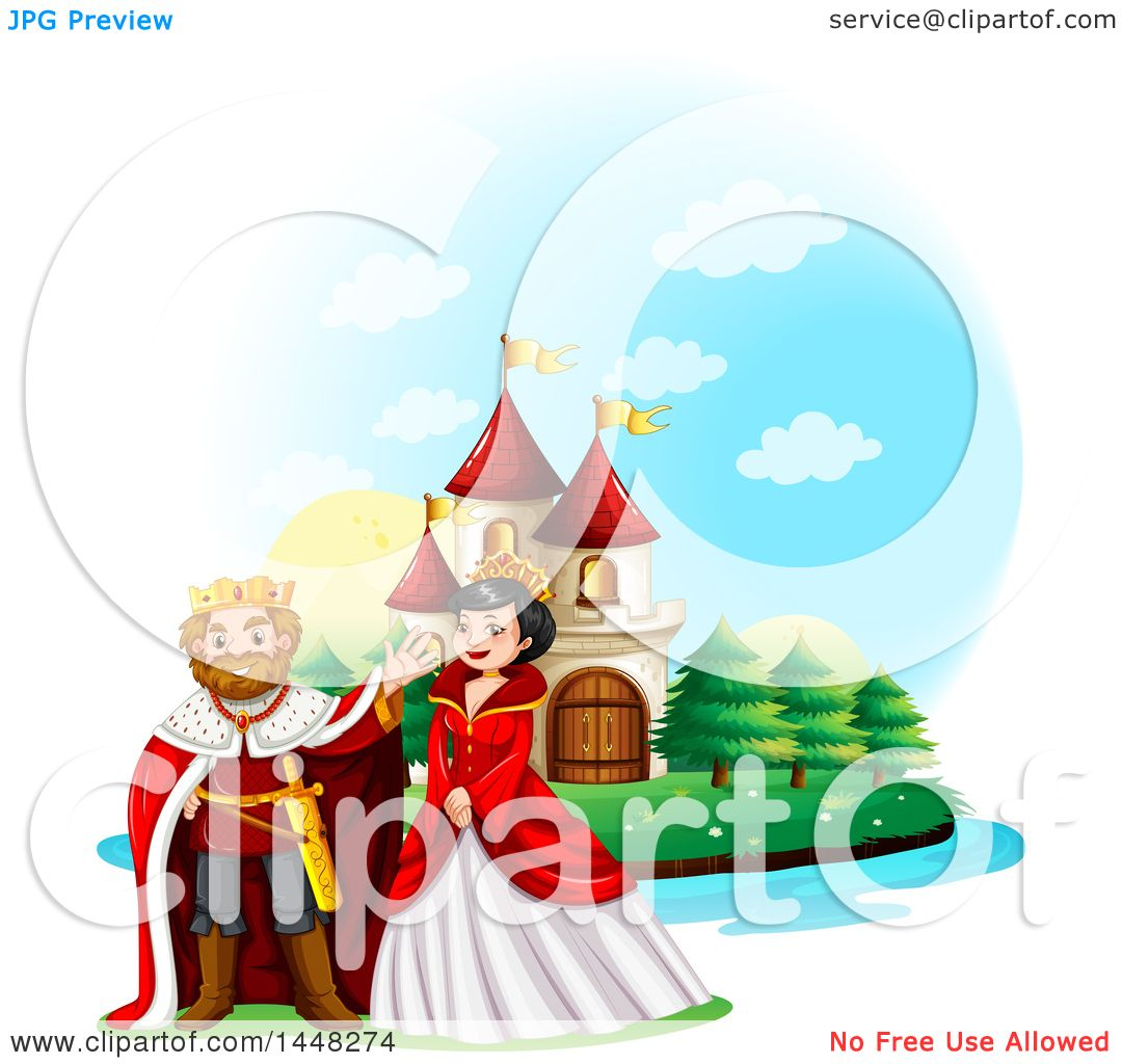 1080x1024 Clipart Of A Happy King And Queen Near A Fairy Tale Castle