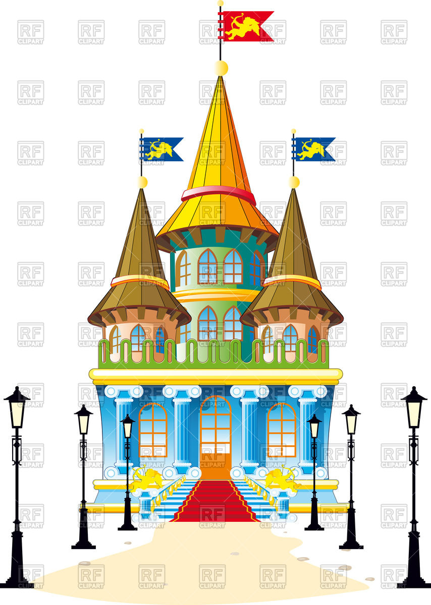 854x1200 Fairytale Castle With Lighted Lanterns Footpath Royalty Free