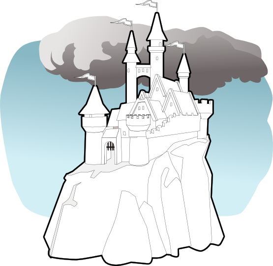 555x540 Clip Art Fairy Tale Castle Black White Line Art Svg