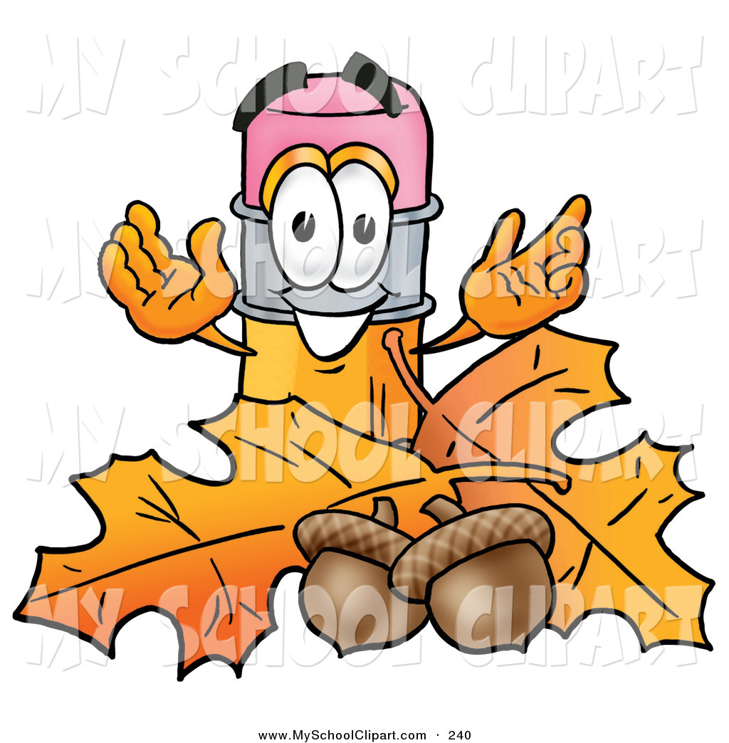 1024x1044 Clip Art Of A Yellow Pencil Mascot Cartoon Character With Autumn