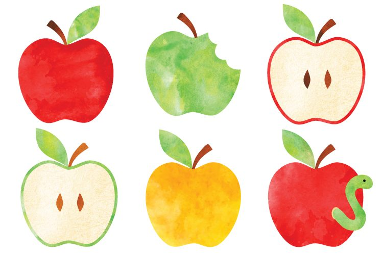 750x500 Watercolor Apple Clip Art
