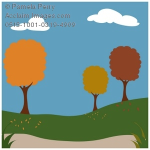 300x300 Clip Art Illustration Of A Park With Autumn Trees
