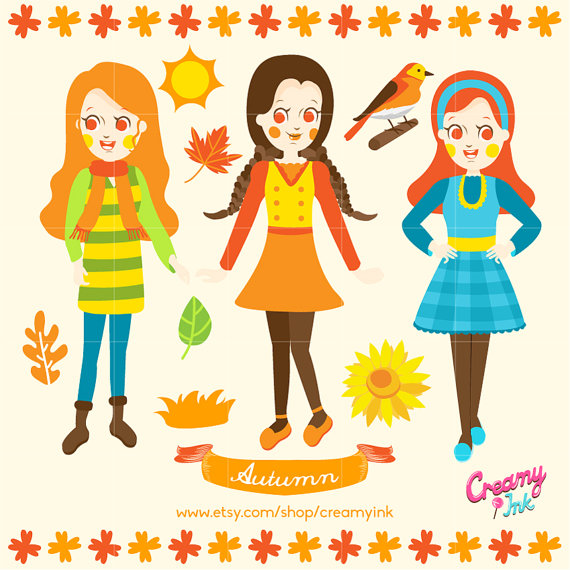 570x570 Fall Kids Digital Vector Clip Art Autumn Girls Clipart