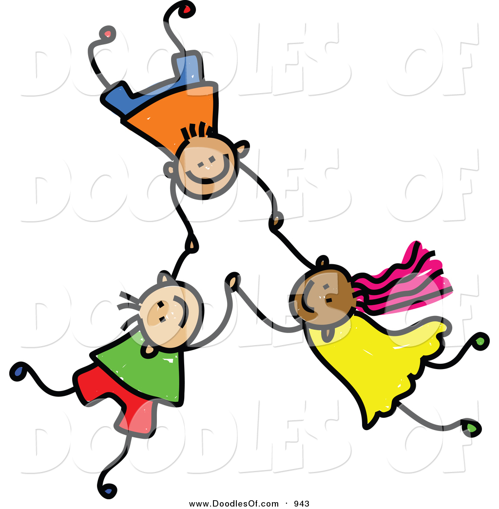 1024x1044 Vector Clipart Of A Doodle Of Three Kids Holding Hands While