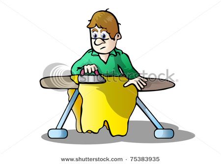 450x335 Clip Art Illustration Of A Man Doing His Own Laundry And Ironing