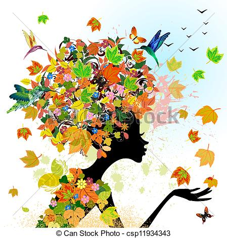 449x470 Girl Fashion Flowers In Autumn Eps Vector