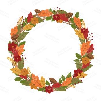 350x350 Premium Large Autumn Harvest Wreath Clip Art